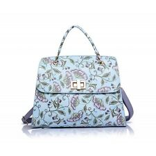 Blue Floral Print Shoulder Bag With Carry Handle
