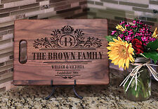 Cutting Board WALNUT with Handle, Personalized, Wedding, Custom Laser Engraved