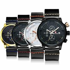 Black Quartz Mens Sport Watches Stainless Steel Date Chronograph Watch Silicone