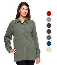 NEW DENIM & CO. Stretch Faux Suede Button Front Big Shirt Many Sizes 240594RM