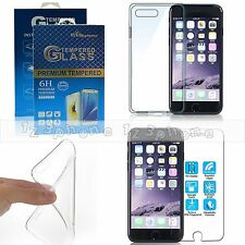 Tempered Glass Screen Protector + Back Soft Gel Case For iPhone 7 4.7''