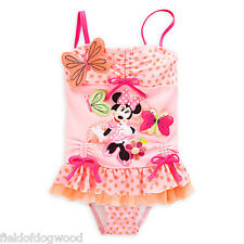 NWT Disney Store Minnie Mouse Clubhouse Ruffled 2pc Swimsuit Girls 3 5/6 7/8