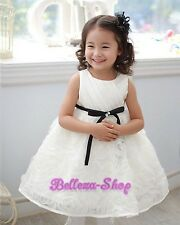 Ivory Embossed Flower Dress Wedding Pageant Party Baby Toddler Size 18M-6 FG306