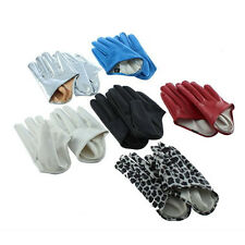 1 Pair Women's Five Finger Half Palm Faux Leather Soft Gloves Mittens Affordable