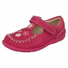 SALE Girls Clarks Hot Pink Leather Flower Trim First Walking Shoes Litzy Lou FST
