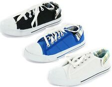 LADIES SALE SPOT ON LACE UP TOE CAP CANVAS SHOE IN BLACK,BLUE AND WHITE F8492