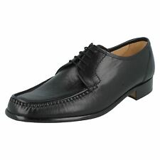 MENS GRENSON BLACK LEATHER LACE UP MOCCASIN STYLE SMART FORMAL SHOES CREW