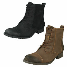 LADIES CLARKS BLACK BROWN LEATHER LACE UP CASUAL SMART ANKLE BOOTS MIMIC JAZZ