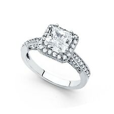 14k Yellow OR White Gold Princess CZ Vintage Halo Engagement Ring Square CZ Band