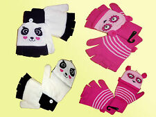 Children's gloves Girl Mittens and Fingerless Gloves in One with Motif
