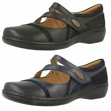 LADIES CLARKS LEATHER RIPTAPE CASUAL MARY JANE LOW WEDGE SHOES EVIANNA CROWN