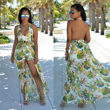 Boho Floral Printed Halter Short Pant Long Jumpsuits Women Rompers Maxi Overalls