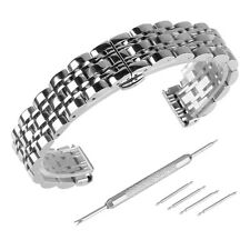 Polished Stainless Steel Solid Link Watch Band Bracelet Strap Replacement Buckle