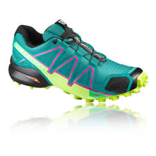 Salomon Speedcross 4 Womens Green Blue Water Resistant Running Shoes Trainers
