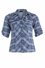 Womens Plus Size Blue Check Shirt with Pintunk Detail & Tab Top Sleeves Size 16
