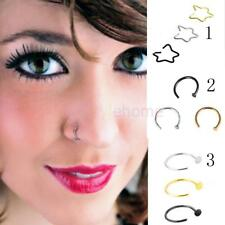3x Stainless Steel Nose Studs Ring Hoop Body Piercing Jewelry Star Circle Shape