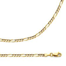 Solid 14k Yellow Gold Necklace Figaro Chain 3 + 1 Link Thin Style , 3.1 mm