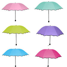 Anti-uv Sun Protection Fold Umbrella Encountering Water Appear Flower Three-fold