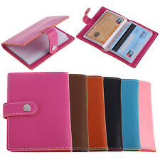 20 Slots ID Credit Business Card Holder Candy Color Faux Leather Case Affordable