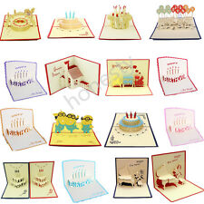 3D Luxury Handmade Pop Up Greeting Card Happy Birthday Beauty Cute Luck Gift