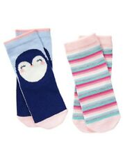 GYMBOREE ENCHANTED WINTER PENGUIN N STRIPE 2-pair OF GIRLS SOCKS 6 12 24 2 3 4 5
