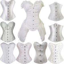 White Wedding Theme Bustier Fancy Dress Lace-Up Boned Corset Top Size S-2/6XL