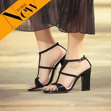 Womens Strappy Gladiator Rhinestone Real Leather Sandals Party Pumps Shoes New