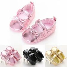Lovely Baby Infant Girls PU Leather Flat Soft Sole Prewalker Crob Shoes Sneaker