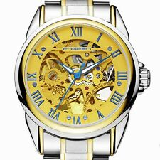 Mens Automatic Golden Wrist Watch Mechanical Stainless Steel Analog Luxury Watch