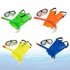 Kid Children Diving Mask Snorkel + Glasses+ Fins Set Silicone Swimming Pool SG