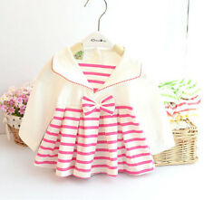 Newborn Baby Girls 100% Cotton Tops Fashion Striped Infant Girl Blouse Red Green