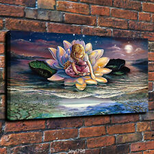 "HD Print on Canvas Painting Home Decoration Wall Art Lotus Flower Girl ""16X24in"""
