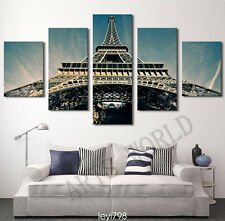 Modern Home Decor Canvas Painting HD Print Picture Art Eiffel Tower scenery 5pcs
