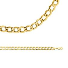 Cuban Necklace Solid 14k Yellow Gold Chain Bevelled Hollow Curb , 6.7 mm