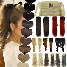 Real Natural Layered Ribbon Tie Up Ponytail Clip in Hair Extension Cosplay US T5