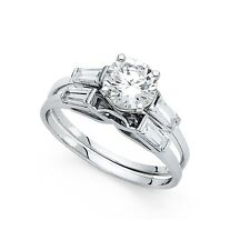14k Yellow OR White Gold CZ Engagement Ring & Wedding Band Solitaire Rings Set