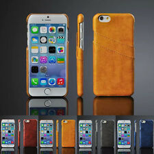 For Apple iPhone 6S Plus Leather Credit ID Card Holder Cash Slot Hard Case Cover