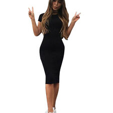 Womens Short Sleeve Casual Slim Pencil Bodycon Party Round Ncek Pocket Cat Dress
