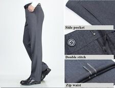 Men's Wool Dress Pants Flat Front Gray Mens Pants Dress Flat Cotton Size 30 44