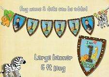 Birthday personalised Jungle Fun Large Bunting any name any age