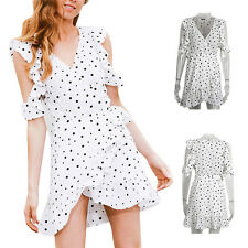Women Dress Chic chiffon Summer Cold shoulder polkadot Irregular Vintage Print