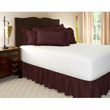 1 Qty Bed Skirt Ruffle/Gathering Egyp.Cotton Drop 8-30 Inch Wine Solid