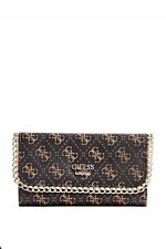 GUESS Wallet Confidential Logo Chain Slim Clutch Black/white/brown purse new