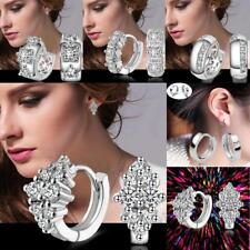 1 Pair Fashion Jewelry Women 925 Sterling Silver Crystal Ear Stud Hoop Earrings