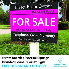 Personalised FOR SALE / TO LET Estate Sign Boards x2 Private / Commercial