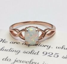 Fire Opal Solid 925 Sterling Silver Rose Gold Gemstone Jewelry Ring 6,7,8,9