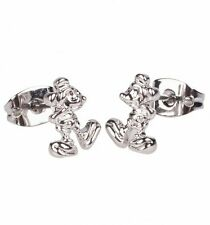 Official White Gold Plated Mickey Mouse Figure Stud Earrings from Disney Couture