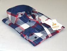 Men's INSERCH 100% Linen Plaid Square Print Summer Cool Long Sleeves 2802 Navy