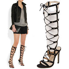 Black Cut Out Caged Knee High Boots Gladiator Stiletto Heel Pumps Sandal Size G