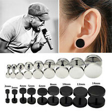 1Pair Punk Gothic Black Men Barbell Stainless Steel Ear Studs Earrings Jewelry